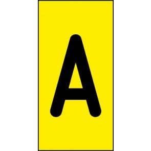 Schild Einzelbuchstabe A | schwarz · gelb