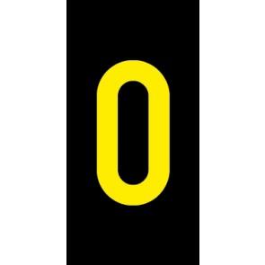 Aufkleber Einzelziffer 0 | gelb · schwarz