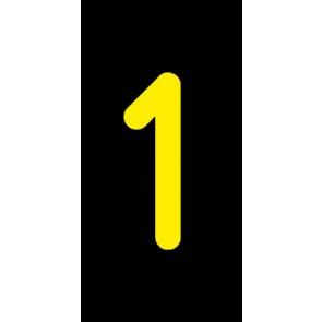 Aufkleber Einzelziffer 1 | gelb · schwarz