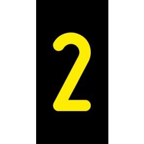 Aufkleber Einzelziffer 2 | gelb · schwarz