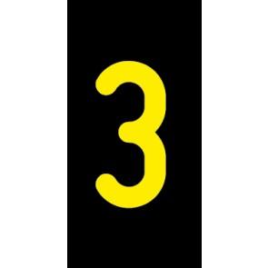 Aufkleber Einzelziffer 3 | gelb · schwarz