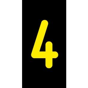 Aufkleber Einzelziffer 4 | gelb · schwarz