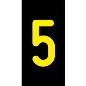 Aufkleber Einzelziffer 5 | gelb · schwarz