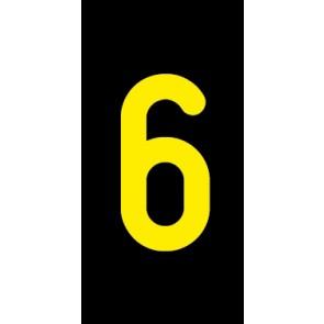 Aufkleber Einzelziffer 6 | gelb · schwarz