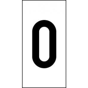 Magnetschild Einzelziffer 0 | schwarz · weiß