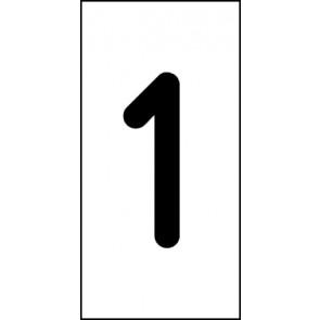 Aufkleber Einzelziffer 1 | schwarz · weiß