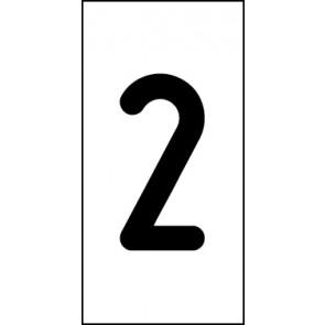 Magnetschild Einzelziffer 2 | schwarz · weiß