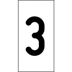 Aufkleber Einzelziffer 3 | schwarz · weiß