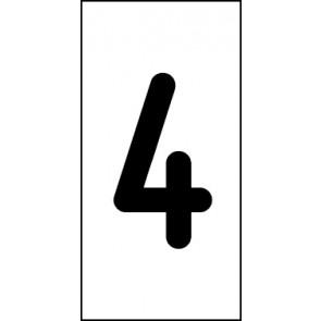 Aufkleber Einzelziffer 4 | schwarz · weiß
