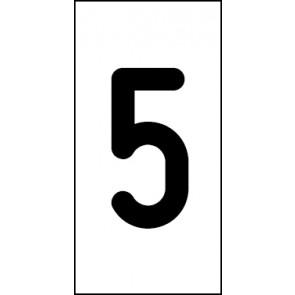 Aufkleber Einzelziffer 5 | schwarz · weiß