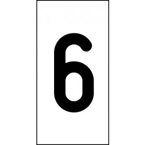 Aufkleber Einzelziffer 6 | schwarz · weiß