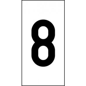 Aufkleber Einzelziffer 8 | schwarz · weiß