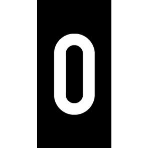 Magnetschild Einzelziffer 0 | weiß · schwarz