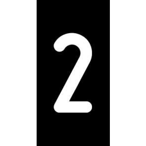 Magnetschild Einzelziffer 2 | weiß · schwarz