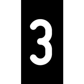 Aufkleber Einzelziffer 3 | weiß · schwarz | stark haftend
