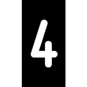 Magnetschild Einzelziffer 4 | weiß · schwarz