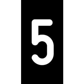 Aufkleber Einzelziffer 5 | weiß · schwarz | stark haftend