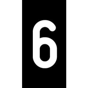 Aufkleber Einzelziffer 6 | weiß · schwarz | stark haftend