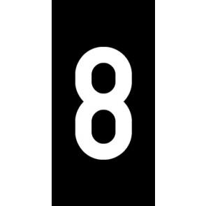 Aufkleber Einzelziffer 8 | weiß · schwarz | stark haftend