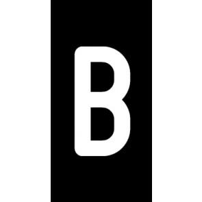 Aufkleber Einzelbuchstabe B | weiß · schwarz | stark haftend
