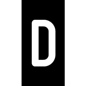 Magnetschild Einzelbuchstabe D | weiß · schwarz