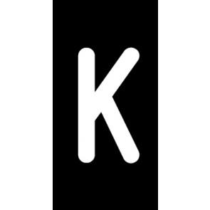 Magnetschild Einzelbuchstabe K | weiß · schwarz