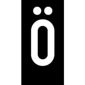 Magnetschild Einzelbuchstabe Ö | weiß · schwarz