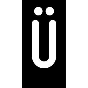 Magnetschild Einzelbuchstabe Ü | weiß · schwarz