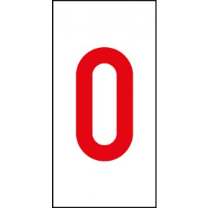 Aufkleber Einzelziffer 0 | rot · weiß