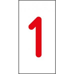 Aufkleber Einzelziffer 1 | rot · weiß