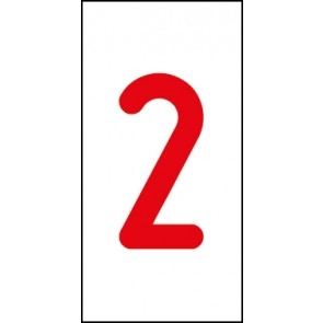 Aufkleber Einzelziffer 2 | rot · weiß