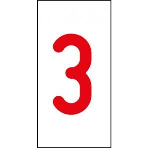 Aufkleber Einzelziffer 3 | rot · weiß