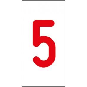 Aufkleber Einzelziffer 5 | rot · weiß