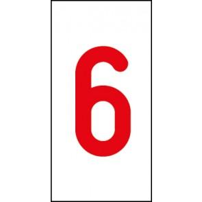 Aufkleber Einzelziffer 6 | rot · weiß