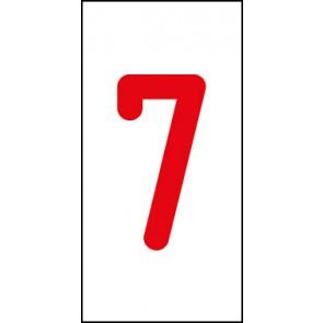 Aufkleber Einzelziffer 7 | rot · weiß