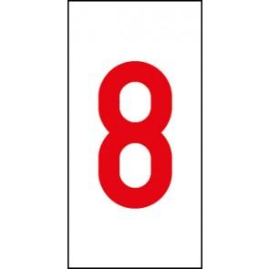 Aufkleber Einzelziffer 8 | rot · weiß