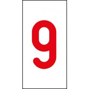 Aufkleber Einzelziffer 9 | rot · weiß