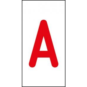 Aufkleber Einzelbuchstabe A | rot · weiß