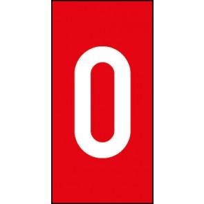 Schild Einzelziffer 0 | weiß · rot