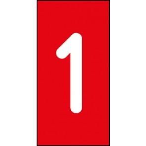 Aufkleber Einzelziffer 1 | weiß · rot