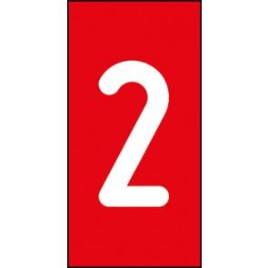 Magnetschild Einzelziffer 2 | weiß · rot