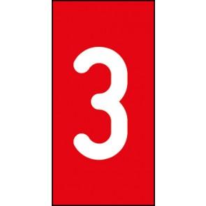 Magnetschild Einzelziffer 3 | weiß · rot