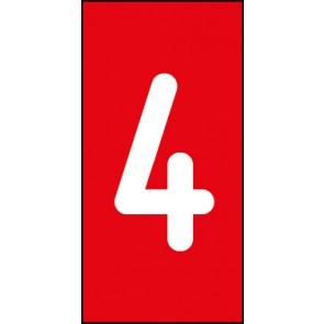 Magnetschild Einzelziffer 4 | weiß · rot