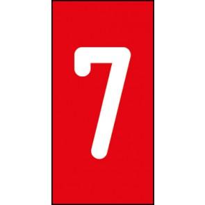 Magnetschild Einzelziffer 7 | weiß · rot