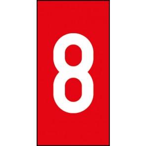 Magnetschild Einzelziffer 8 | weiß · rot