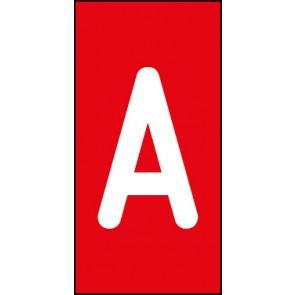 Aufkleber Einzelbuchstabe A | weiß · rot