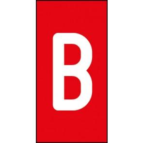 Aufkleber Einzelbuchstabe B | weiß · rot