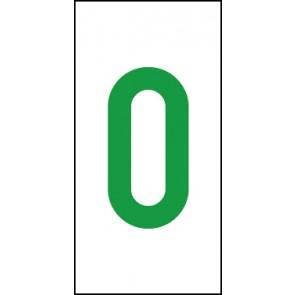 Aufkleber Einzelziffer 0 | grün · weiß