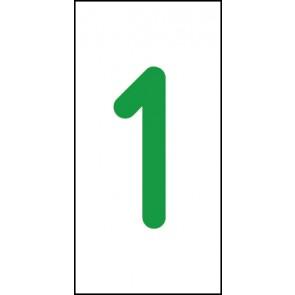 Aufkleber Einzelziffer 1 | grün · weiß