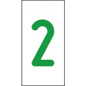 Schild Einzelziffer 2 | grün · weiß